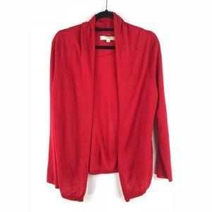 Loft Sz L Red Open Long Cardigan Sweater Wool Blnd